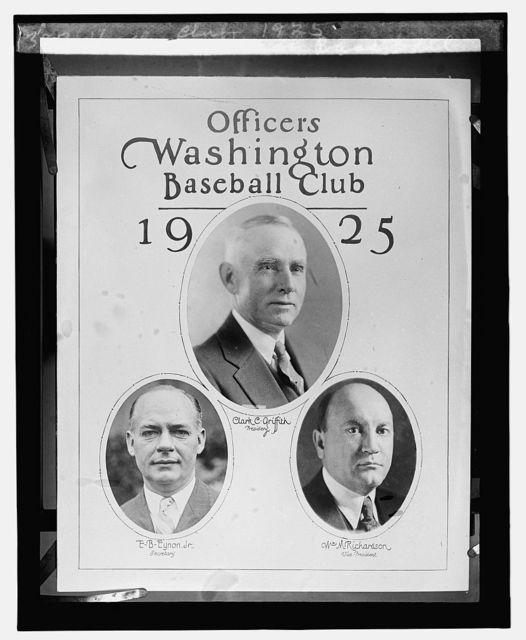 Officers Wash. Baseball Club, 1925