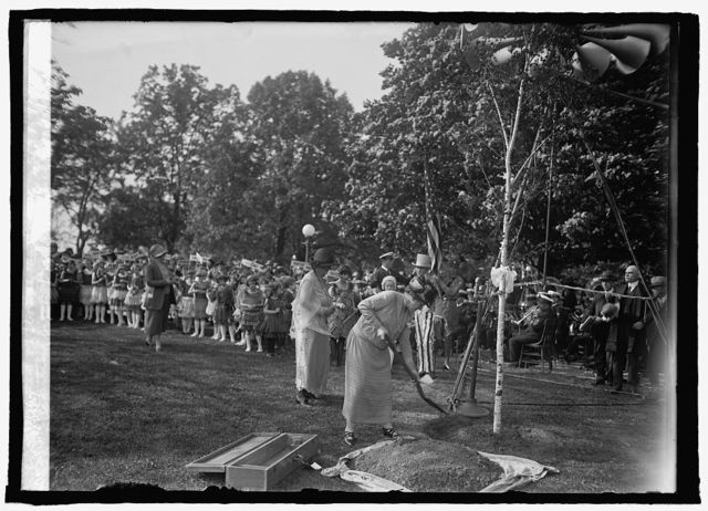 Planting birch tree at Capitol, [Washington, D.C.], Dist. Fed. of Women's Clubs, [5/9/25]