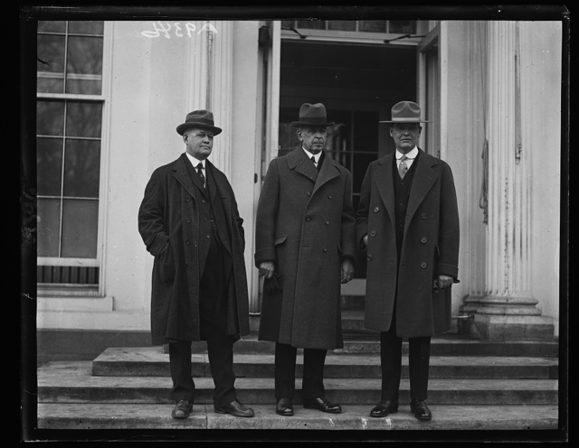 Secretary of the Interior Work introduces prominent Alaskans to President. In the group (left to right) Noel W. Smith, General Manager of the Alaskan Railroad, Secretary Work and George A. Parks, Assistant Supervisor of Public Lands o[...] Alaska [White House, Washington, D.C.]