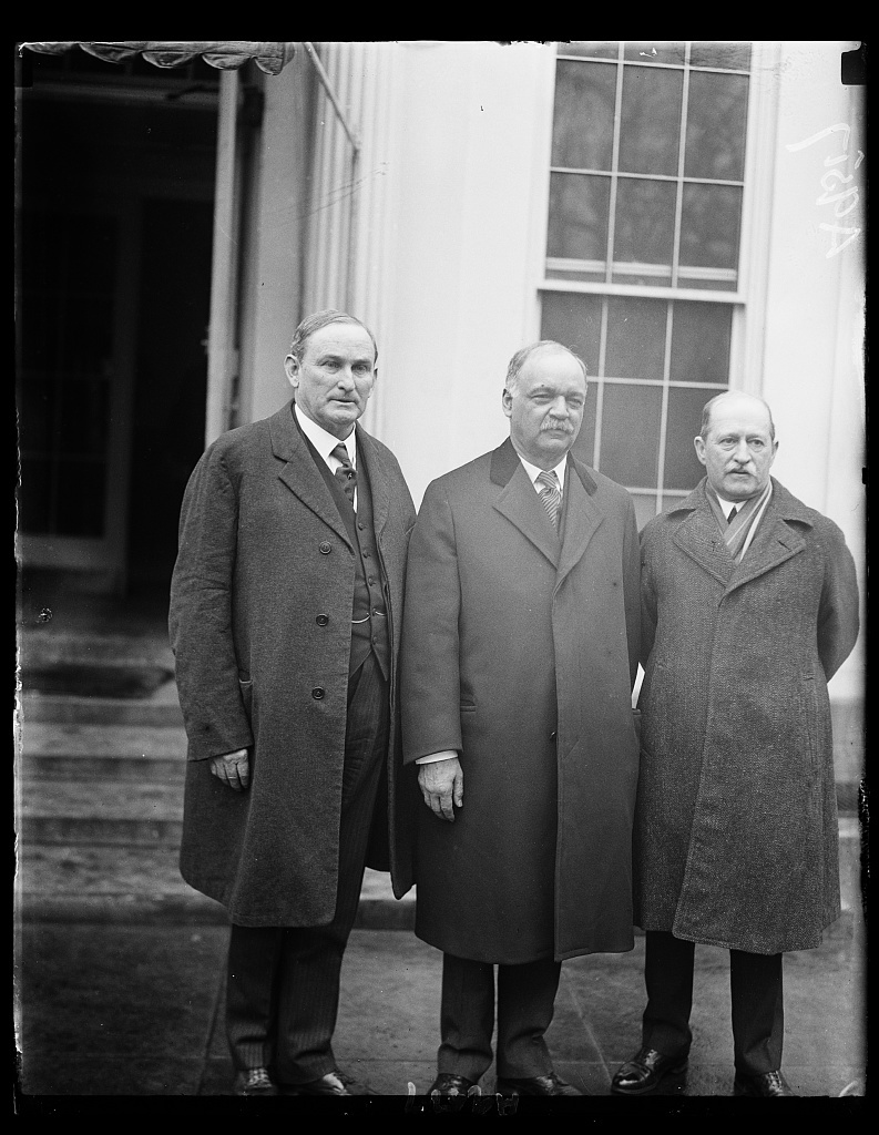 Senate leaders call at the White House to receive the nomination of John G. Sargent of Plymouth as the next Atty. Gen. following the rejection of Charles B. Warren by the Senate for the second time. Left to rt: Sen. Joseph P. Robinson, Ark., Sen. Charles Curtis, Kan., and David Barry, Sargent-at-Arms of the Senate