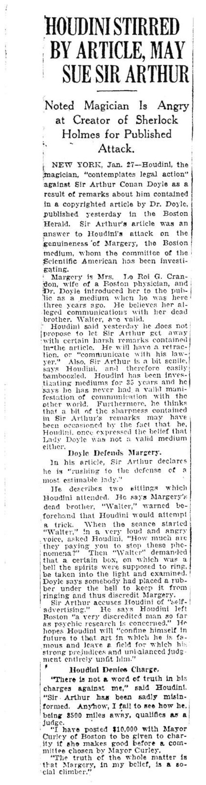 Springfield Union article, January 27, 1925 Houdini stirred by article may sue Sir Arthur