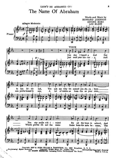 The name of Abraham: with ukulele arrangement; successfully sung by J. C. Flippen by Howard Johnson, Irving Bibo and Lew Klein.