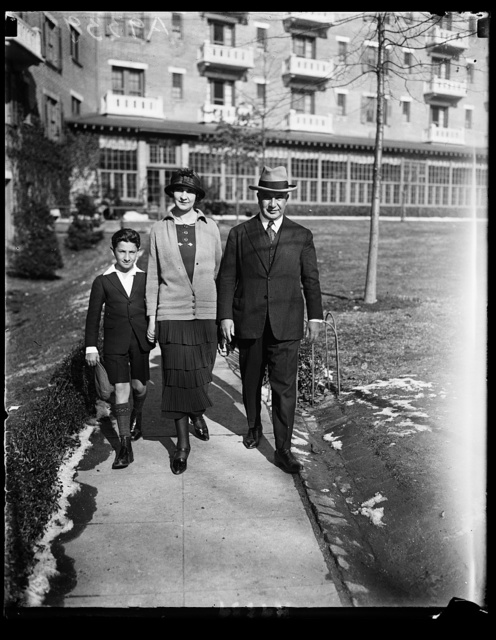 The new Minister from Paraguay, Eusebiro Ayala, and former President of his country, snapped upon his arrival at Washington, with his wife and son Roger, at Wardman Park Hotel