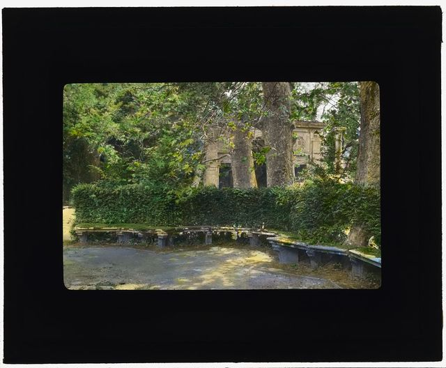[Villa Lante, Bagnaia, Lazio, Italy. Bench at Fountain of the Dolphins]
