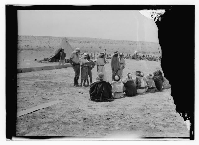 Workers at camp during locust plague.