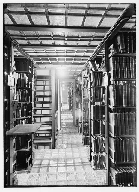 Zionist activities in Palestine. The Hebrew University Library. Book stacks.
