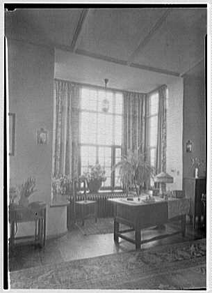 Albert Wilson, residence in Mamaroneck, New York. Bay window, living room