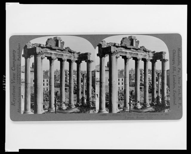 Columns of the Temple of Saturn, in the Forum, Rome, Italy