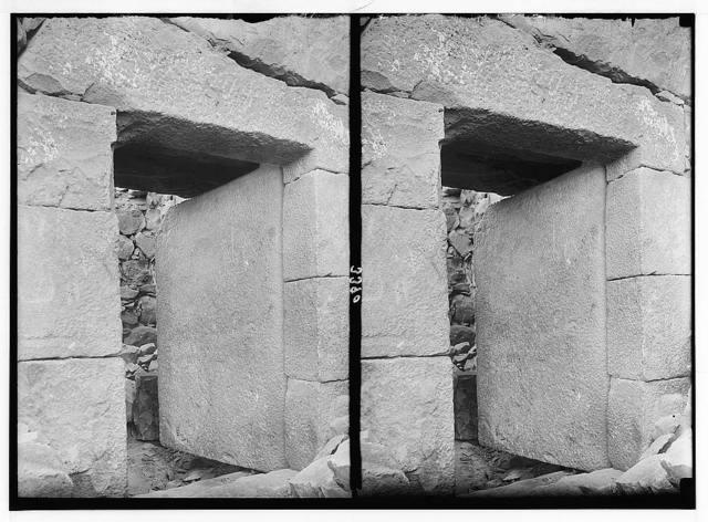 El-Azrak & Wadi Sirhan in the Arabian desert. Druse [i.e., Druze] political refugees from Jebel Druse (The Hauran). Stone door at El-Azrak. An entrance to the castle