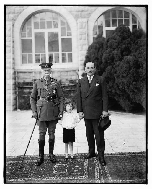 [Field Marshall Lord Plumer, Master Michael Brooke, H. E.'s grandson; and M. Henry de Jouvenal, their Excellencies the High Commissioners of Palestine and Syria, taken on April 1st 1926 when the French Commissioner was visiting Lord Plumer]
