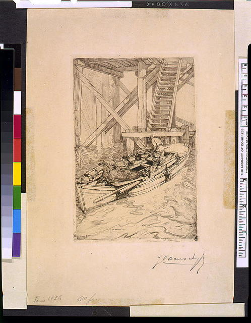 [Fisherman in a boat anchored near a wharf, showing the structural frame and steps leading up to the pier]