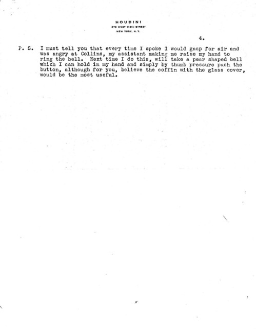 Four page letter and one page of temperature readings from Houdini to Dr. W.J. McConnell of the Bureau of Mines about underwater burial
