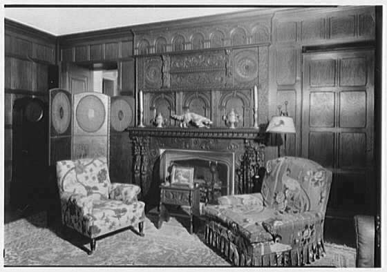 George St. George, residence in Tuxedo Park, New York. Library, fireplace