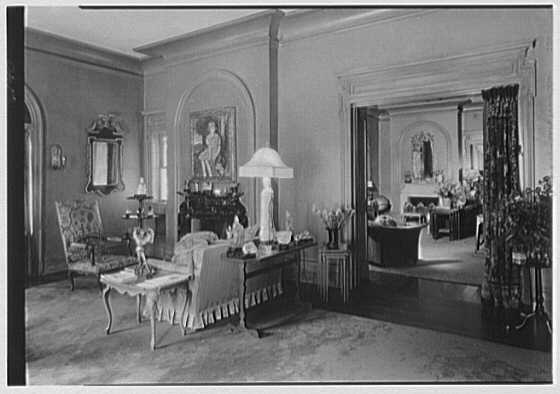 George St. George, residence in Tuxedo Park, New York. Two living room fireplaces