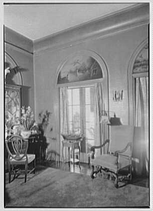 George St. George, residence in Tuxedo Park, New York. Window and painted lunette, living room