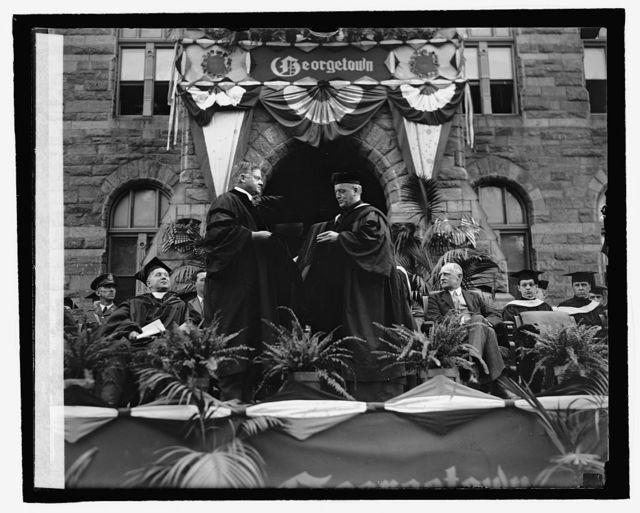 Herbert Hoover receiving hon. degree at Georgetown U., [6/8/26]
