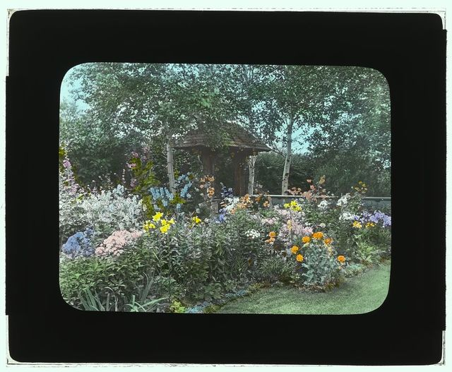 "[""Indian Ridge,"" Dr. Francis Bishop Harrington house, 166 Argilla Road, Ipswich, Massachusetts. Flower border]"