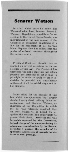 Labor records for candidate for U. S. Senate ... Issued by the Republican State committee. Indianapolis 1926.