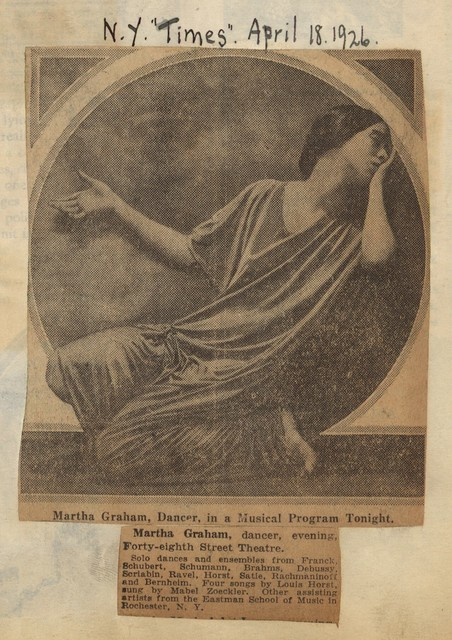 Martha Graham, dancer, in a musical program tonight