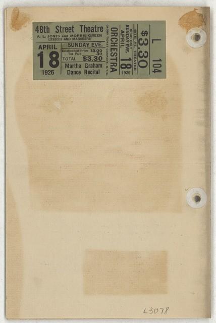 [ Martha Graham, Forty-Eighth Street Theatre, April 18, 1926]