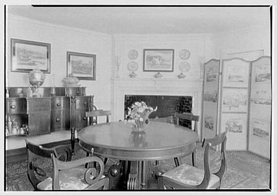 Mrs. A.F. Tiffany, residence on E. Norwich Rd., Oyster Bay, Long Island. Dining room I, toward fireplace
