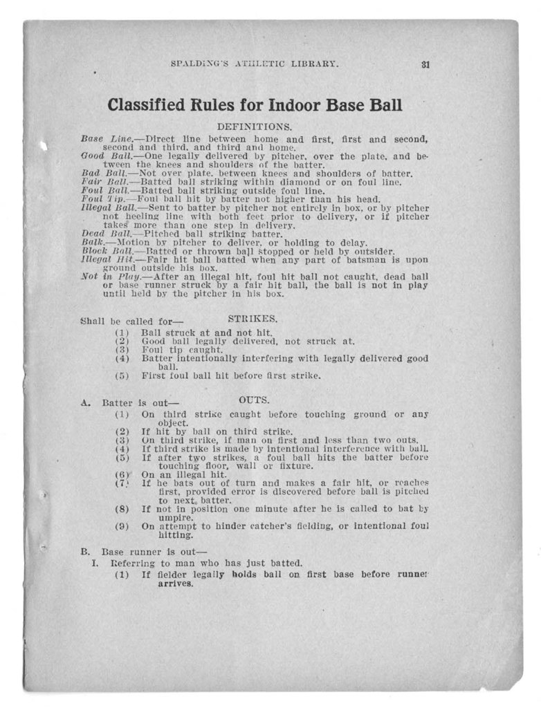 Official indoor base ball guide containing the constitution, 1926