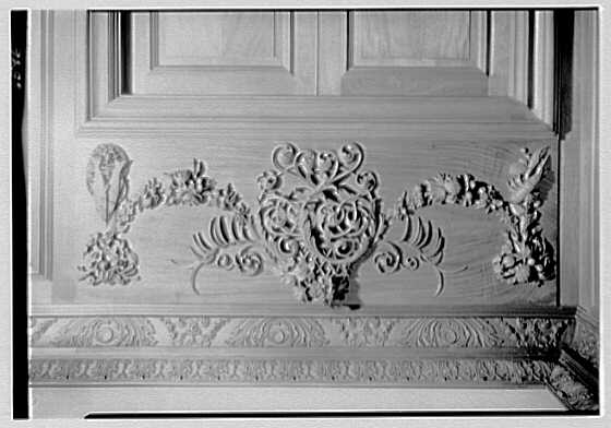 Robert Law, Jr., residence in Portchester, New York. Detail of wood carving