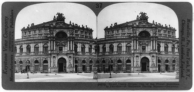 Royal Operahouse, one of the finest buildings in Dresden--S. entrance facing square--Germany