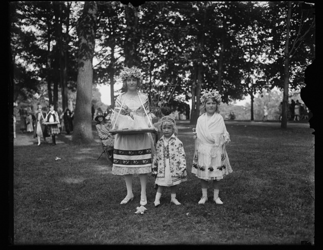 The children of the Minister and Countess Laszlo Szechenyi wearing Hungarian costumes attended the Annual Garden Fete for the benefit of the neighborhood house in Washington, May 20th. The Countess is the former Gladys Vanderbilt. They are Gladys Sylvia and Nandine