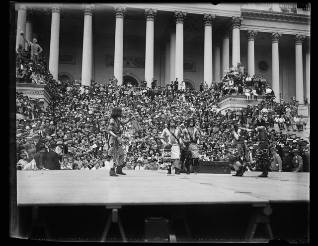 The cries of the Hopi Indians as they danced into their historic Snake Dance echoed through the United States Capitol grounds, May 15, when selected members of their tribe staged a genuine sure-enough ol-time dance for members of congress. The dance was planned by Senator Cameron of Arizona in an effort to overcome objections that have arisen against this ancient religious ritual