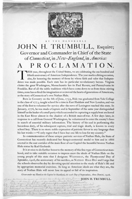 [Woodcut] By the Honorable John H. Trumbull, Esquire; Governor and Commander in Chief of the State of Connecticut, in New-England, in America: a proclamation ... I designate Wednesday, the twenty-second day of September, 1926, the anniversary of