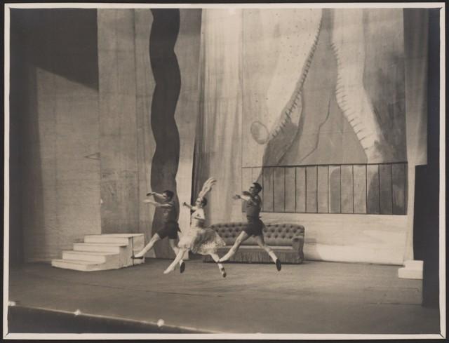 Photograph of Lydia Sokolova, Leon Woizikovsky, Nicholas Zverev in Les Biches, 1925-26, no photographer