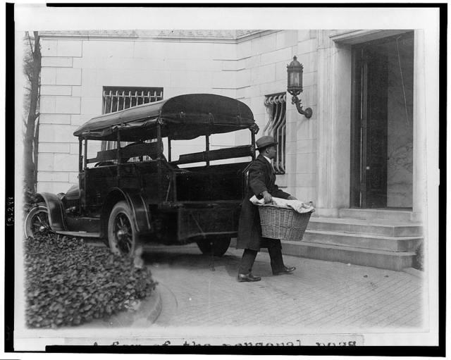 """A few of the personal possessions of the President and Mrs. Coolidge were taken to the """"Temporary White House"""" today by the White House truck"""