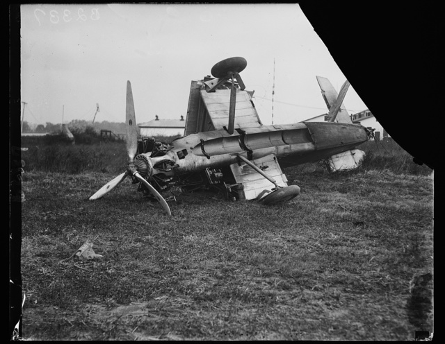 A United States Navy plane completely wrecked by the tornado as it struck the Naval Air Station at Anacostia, D.C.