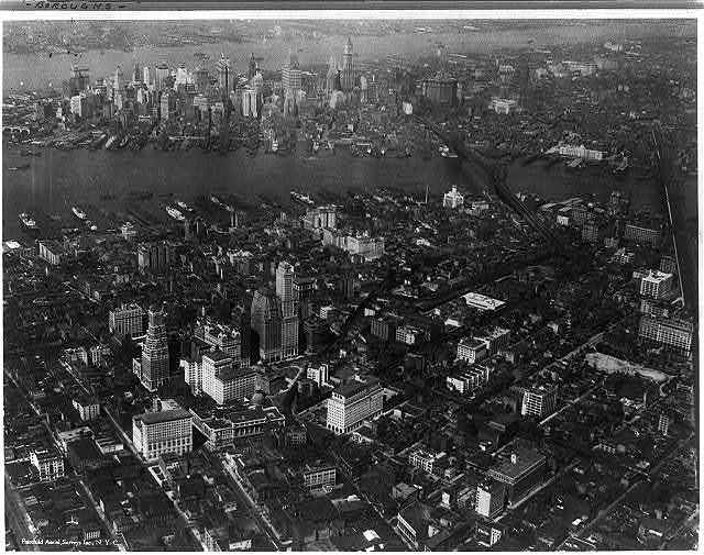 [Aerial view of Brooklyn with Manhattan in the backgrd., New York City]
