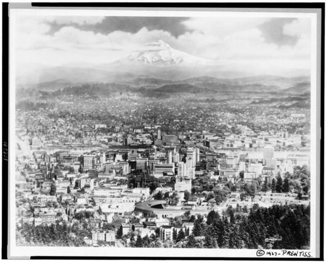 [Bird's-eye view of Portland, Oregon, with Mt. Hood in the background]