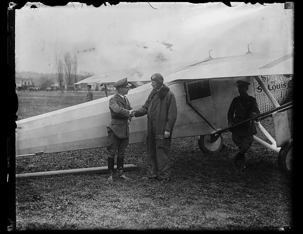 """[Charles Lindbergh and airplane """"Spirit of St. Louis""""]"""
