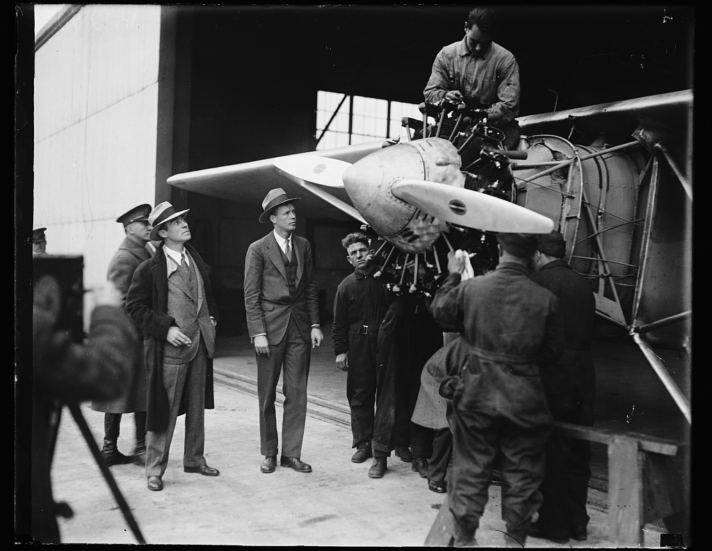"[Charles Lindbergh and airplane ""Spirit of St. Louis""]"