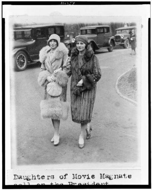 [Daughters of movie magnate call on the president. Misses Edith and Irene Mayer, daughters of Louis Mayer, head of the Metro Goldwyn Mayer Corp., wearing fur and fur-trimmed coats]