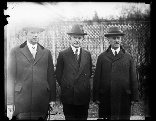 [Dwight Davis, Calvin Coolidge and Henry L. Stimson]