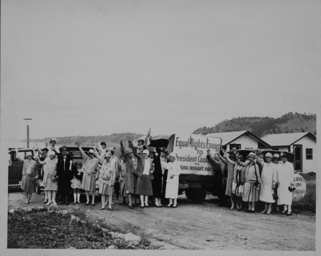 Equal Rights Envoys of the National Woman's Party who motored to Rapid City where the delegation, consisting principally of western women, saw President Coolidge and asked his aid for the Equal Rights Amendment now pending in Congress. The national delegates are here bidding farewell to Rapid City women who organized a branch in support of the Equal Rights program.
