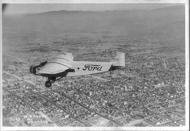 [Ford airplane in flight]