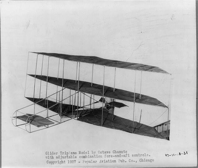Glider Triplane Model by Octave Chanute, with adjustable combination fore-and-aft controls