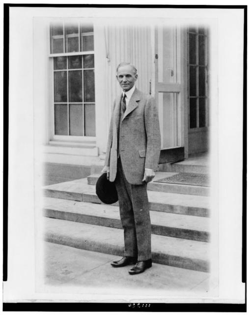[Henry Ford, full-length portrait, standing, facing slightly left, leaving the White House after calling on the president]