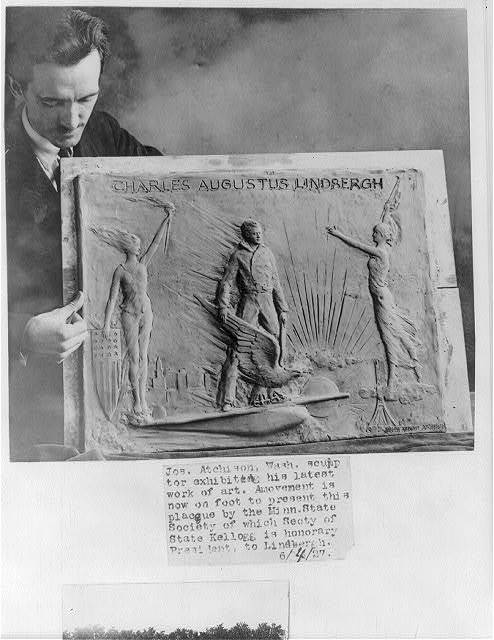 [Joseph Anthony Atchison, 1895- ; with his plaque commemorating Charles Lindbergh