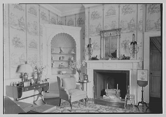 Marshall Field, residence in Huntington, Long Island, New York. Boudoir fireplace, natural light