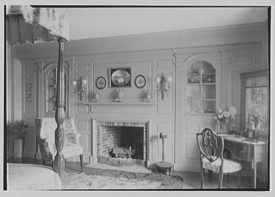Marshall Field, residence in Huntington, Long Island, New York. Fireplace and side cupboard, bedroom