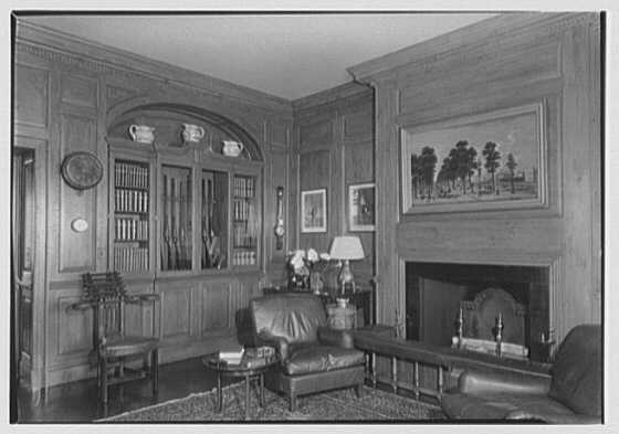 Marshall Field, residence in Huntington, Long Island, New York. Gun room, toward gun case