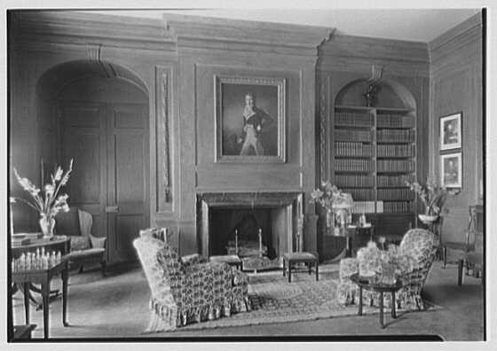 Marshall Field, residence in Huntington, Long Island, New York. Library fireplace