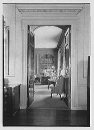 Marshall Field, residence in Huntington, Long Island, New York. Library through living room door